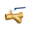 Brass filter ball valve with strainer