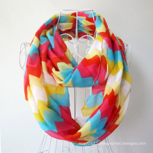 Woman Fashion Wave Printed Polyester Chiffon Infinity Scarf (YKY1099-2)