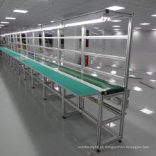Sistema de transporte de correia de PVC com longa mesa de trabalho