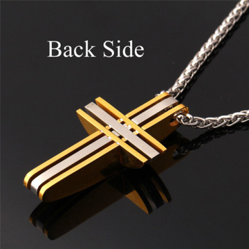 Classic Cross Pendants For Men Jewelry 316L Stainless Steel Never Fade 18k Gold Plated  Cross Pendant Necklace Chain