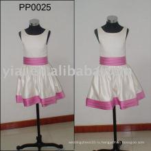 PP0025 атласная розовая и Белая атласная детские платья для свадеб