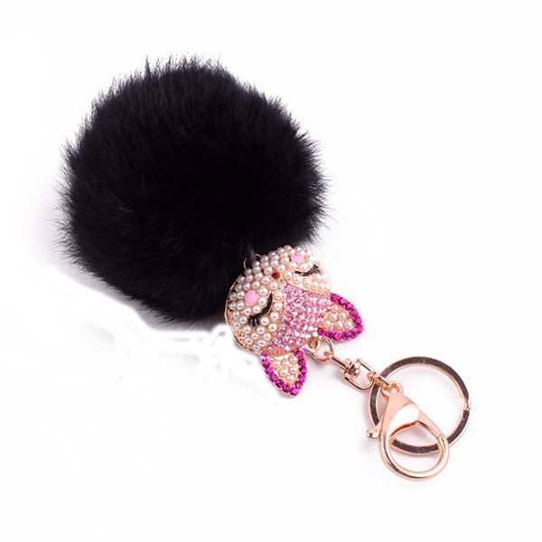 Charm Rabbit Fur Ball Keychain