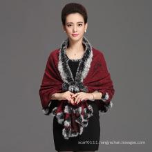 Lady Fashion Acrylic Knitted Rabbit Fur Collar Winter Shawl (YKY4481)