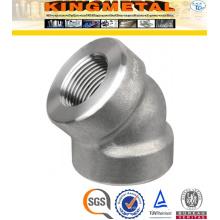 Encaixes de tubulação F304 / 316 de aço inoxidável 45 D cotovelo