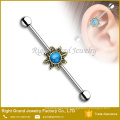 Unique Spiral Industrial Barbell Opal Flower Industrial Piercing Jewelry