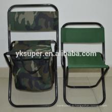 Складной стул для кемпинга со спинкой и кулером.