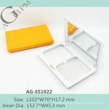 Retangular compacto pó caso/compacto pó recipiente com espelho AG-ES1022, embalagens de cosméticos do AGPM, cores/logotipo personalizado