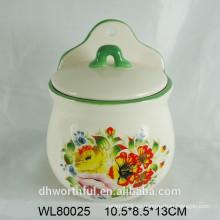 Recipiente de condimento de cerámica con la calcomanía de la flor