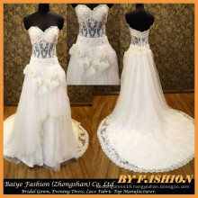 Gorgeous Wedding Dress Bridal Gown Illusion Waist Lace Fabric Dress for fat women