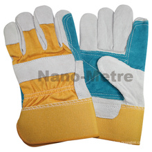NMSAFETY yellow cotton back working glove cow leather made in China