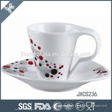 Tasse et soucoupe en porcelaine de 100CC, tasse en porcelaine blanche, ensemble de tasse de conception de ruban