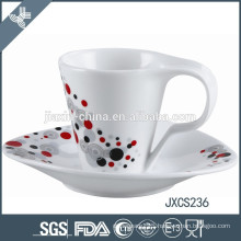 100CC porcelain coffee cup and saucer, white porcelain mug, sliver design cup set