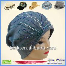LSC11 Ningbo Lingshang 100% sombrero de algodón con flores Beads sombrero de invierno de moda