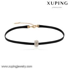 44048 venta al por mayor de joyas populares zircon pavimentadas collar de gargantilla de cuero colgante