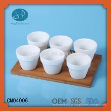 Fabricante de copos de café de cerâmica mini com base de bambu, copo de chá sem alça