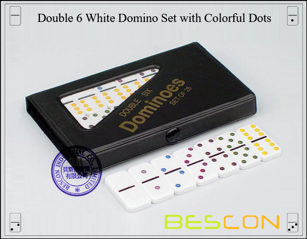 Double 6 White Domino Set with Colorful Dots