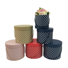 Dots pattern round flower box wholesale