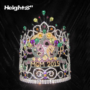 8in Height Crystal Mardi Gras Pageant Crowns