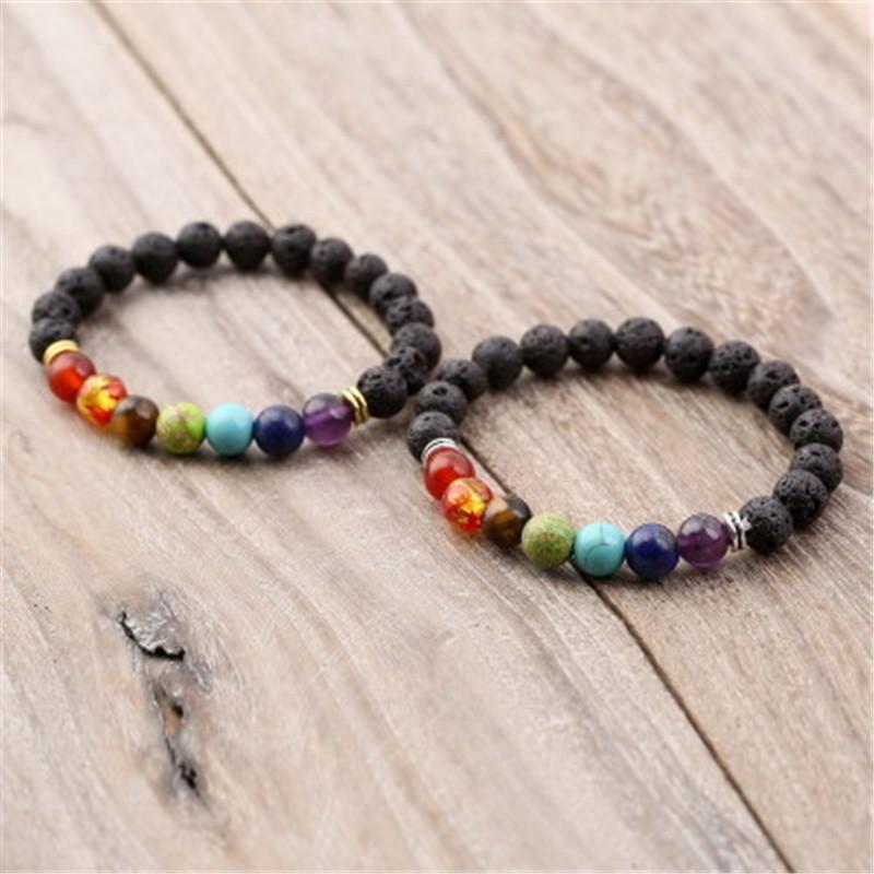 Energy Lava Stone Chakra Natural Stone Bracelet