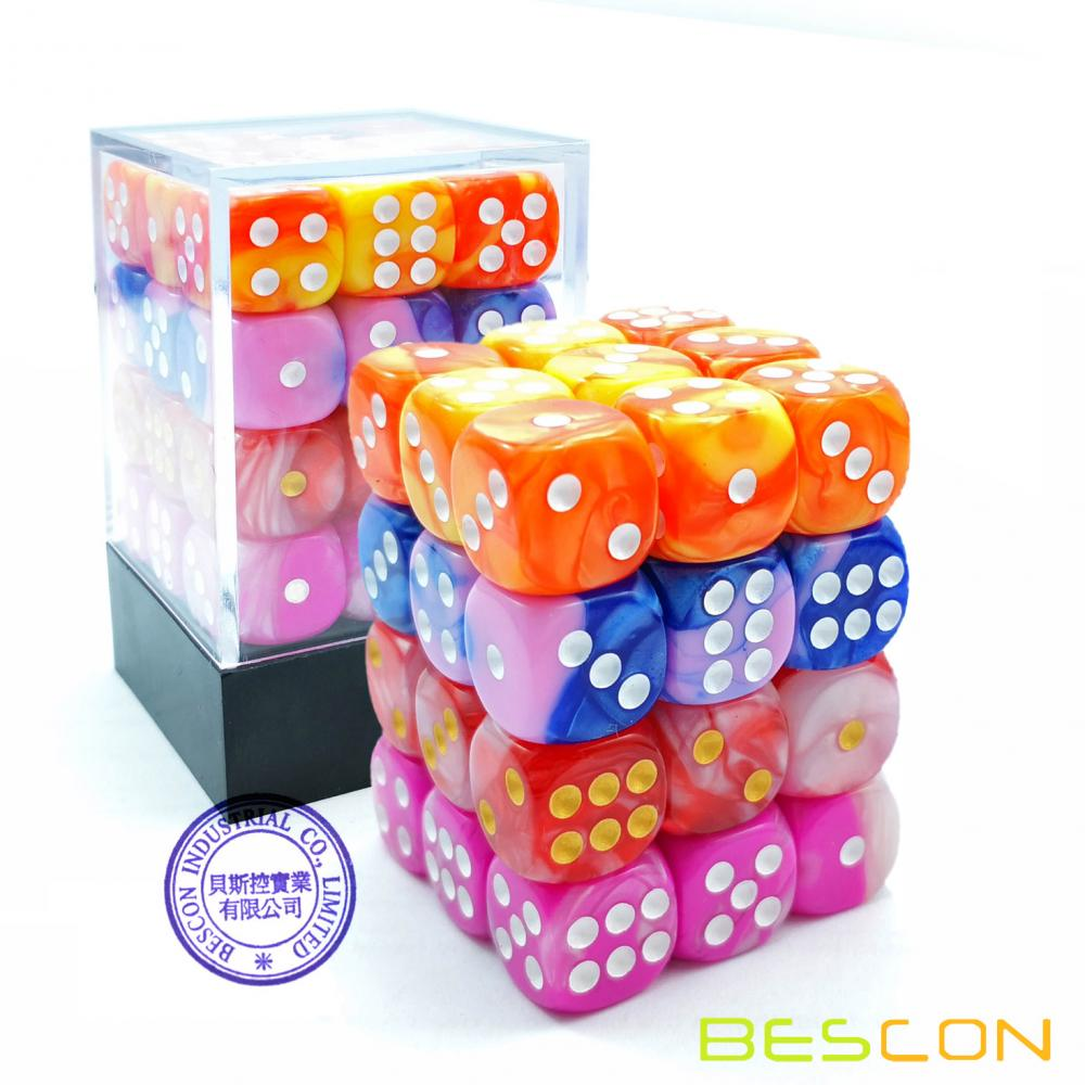 Bescon 12mm 6 Sided Dice 36 in Cube, 12mm Six Sided Die (36) Block of Dice, Gemini Effect in All Assorted Flower Colors