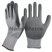 NMSAFETY en388 4543 cheap anti cut knife level 5 HPPE PU dipping on palm working glove/safety glove