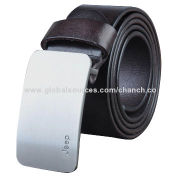 Luxury Dark Brown Men's Genuine Leather Belt with Silver Buckle, Available in Various ColorsNew
