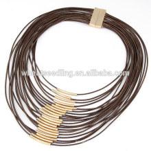 Moda multi-camada de cera grossa cordão charme colar com tubo de cobre pequeno