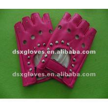 Luvas de couro rosa sem dedos
