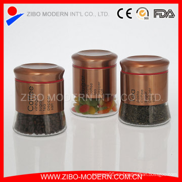 Juego de contenedores metálicos de vidrio de acabado dorado 3PC