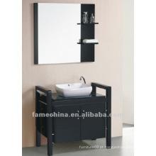 Vaidade de madeira montada em parede com bacia e espelho