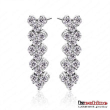 High Quality Heart Shaped Long Dangle Earrings Pendientes (CER0029-B)