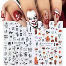 New Arrival Halloween Holiday Pumpkin Skull Maple Leaf Nail Art Sticker Decal Nail Art Decoration