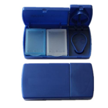 2 divider plastic pill storage box with cutter