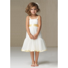 A-line Wide Straps Knie-lengte Satin Organza Flower Girl Dress