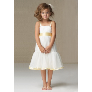 A-line Wide quai dài Satin Organza Flower Girl Dress