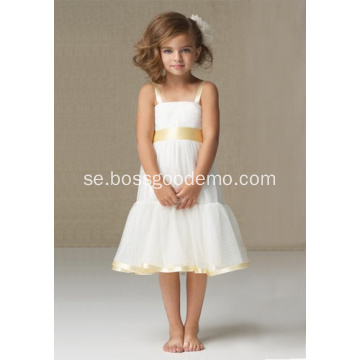 A-line Wide Straps Kneelängd Satin Organza Flower Girl Dress