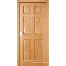 Carvalho interior inacabado folheada stile composto de 6 painel e porta de madeira do trilho