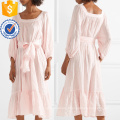 Nouveau Rose Et Blanc Rayé Trois-quarts Longueur Manches Midi Summer Dress Fabrication En Gros Mode Femmes Vêtements (TA0307D)