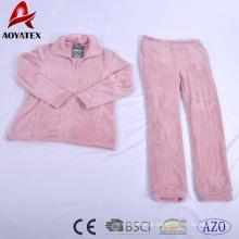 pijama de zíper de flanela em relevo ultrassônico velo