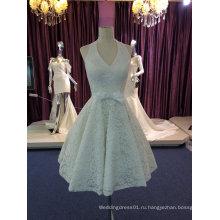 Лучшие продажи Холтер короткое слоновая кость кружева Свадебные платье с бант
