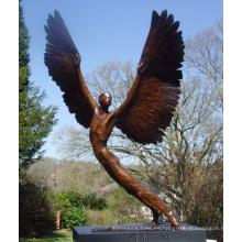 fuentes de arte decoración del hogar artesanía de metal bronce alado estatua del ángel