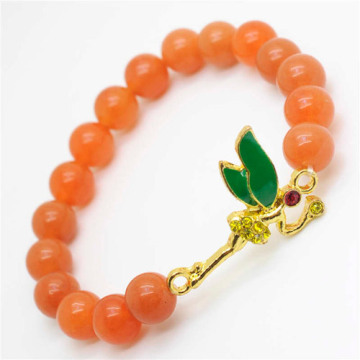 Red Aventurine Gemstone Bracelet with Diamante alloy dragonfly Piece