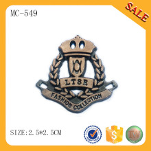 MC549 2015 years 3d logos antique copper plating metal souvenir plates for clothes