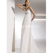 Empire Sheath Column Straps Kereta Kereta Chiffon Lace Draped Wedding Dress