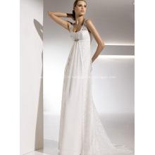 Empire gaine colonne bretelles train chapelle en mousseline de soie en dentelle robe de mariée drapée