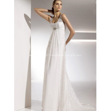 Empire Sheath Column Straps Chapel Train Chiffon Lace Draped Wedding Dress