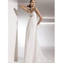 Império bainha coluna correias capela trem chiffon laço vestido de noiva drapeado