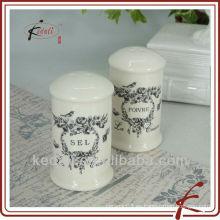 Venta al por mayor única barata personalizada Venta al por mayor de porcelana de cerámica sal y pimienta Shaker con hermosa calcomanía