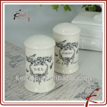 Best Selling Unique Cheap Personnalisé en gros en céramique en porcelaine Sel et Pepper Shaker avec beau décalcomanie