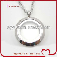 25mm screw round stainless steel floating locket necklace